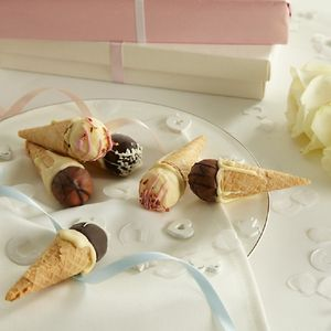 Mini Chocolate Truffle Ice Cream Cones - chocolates