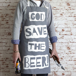 'God Save The Beer' Apron - barbecue accessories
