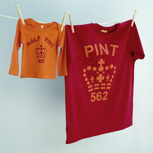 Pint And Half Pint T Shirt   Orange / Red - babies' dad & me sets