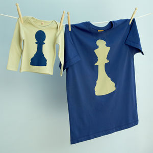 Matching King / Pawn Chess T Shirt Set Dad / Child - clothing & accessories