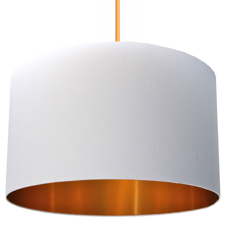 Crisp White Cotton Lampshade With Gold Lining By Love