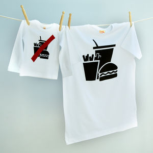 Matching T Shirt Set 'Clean Eating' For Dad And Child