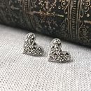 Marcasite Heart Silver Stud Earrings