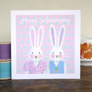 Personalised Bunny Anniversary Card - easter cards