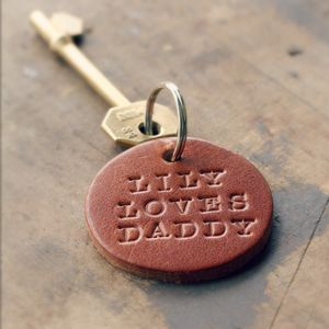 Personalised Handstamped Leather Round Keyring