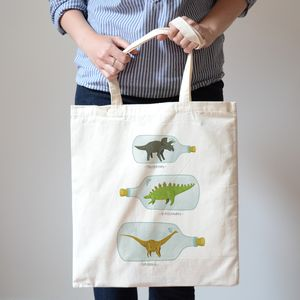 Bottled Dinosaurs Canvas Tote Bag - on trend: dinosaurs