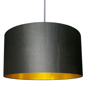 Handmade Gold Lined Lampshade In Gunmetal - bedroom