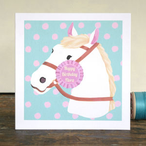 Personalised Horse Birthday Card Pink Version