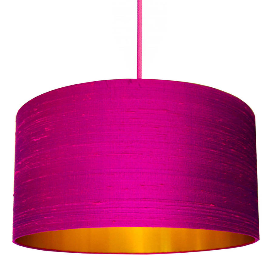 Brushed Copper Or Gold Silk Lampshade In Hot Pink