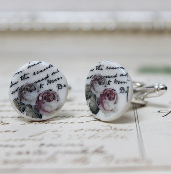 Porcelain Rose And Writing Cufflinks