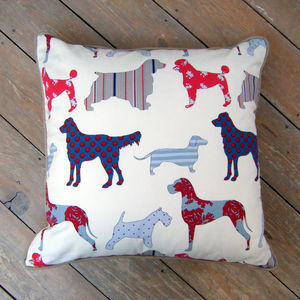 Assorted Dog Breed Print Cushion With Piped Edge - cushions