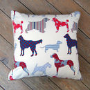 Assorted Dog Breed Print Cushion With Piped Edge