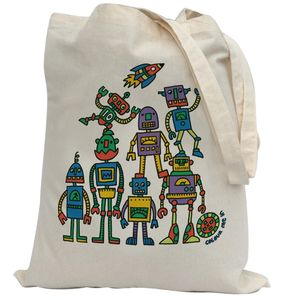 Colour In Robot Tote Bag