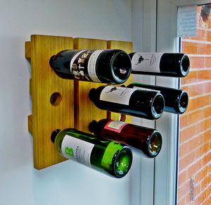 Wine Rack Wall Mounted Handmade In Solid Oak