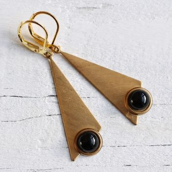 Deco Earrings With Jet