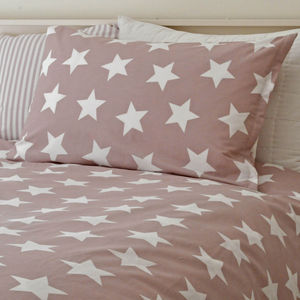 Dusky Pink Star Bedding Set - soft furnishings & accessories