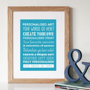 Personalised Typography Print Or Canvas - posters & prints