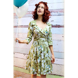 1950s Style Full Skirted Dress In Green Candy Floral - women's fashion