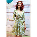 1950s Style Full Skirted Dress In Green Candy Floral