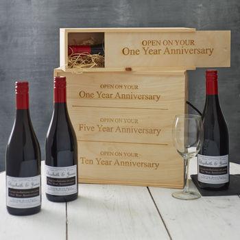 Personalised Anniversary Wine Box