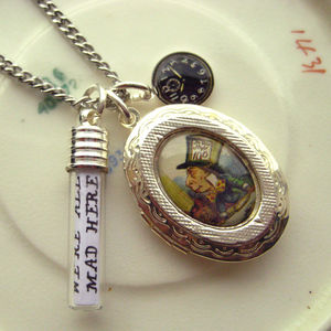 'We Are All Mad Here' Mad Hatter Locket Charm Necklace