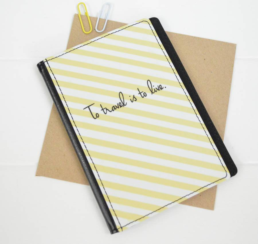 TillieMint Loves Decorative Stripe Leather Passport Cover
