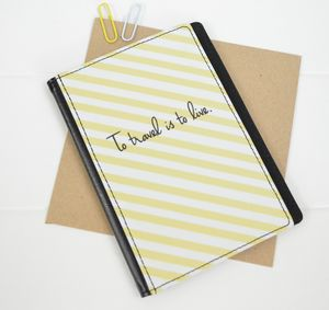 Decorative Stripe Leather Passport Cover - passport & travel card holders