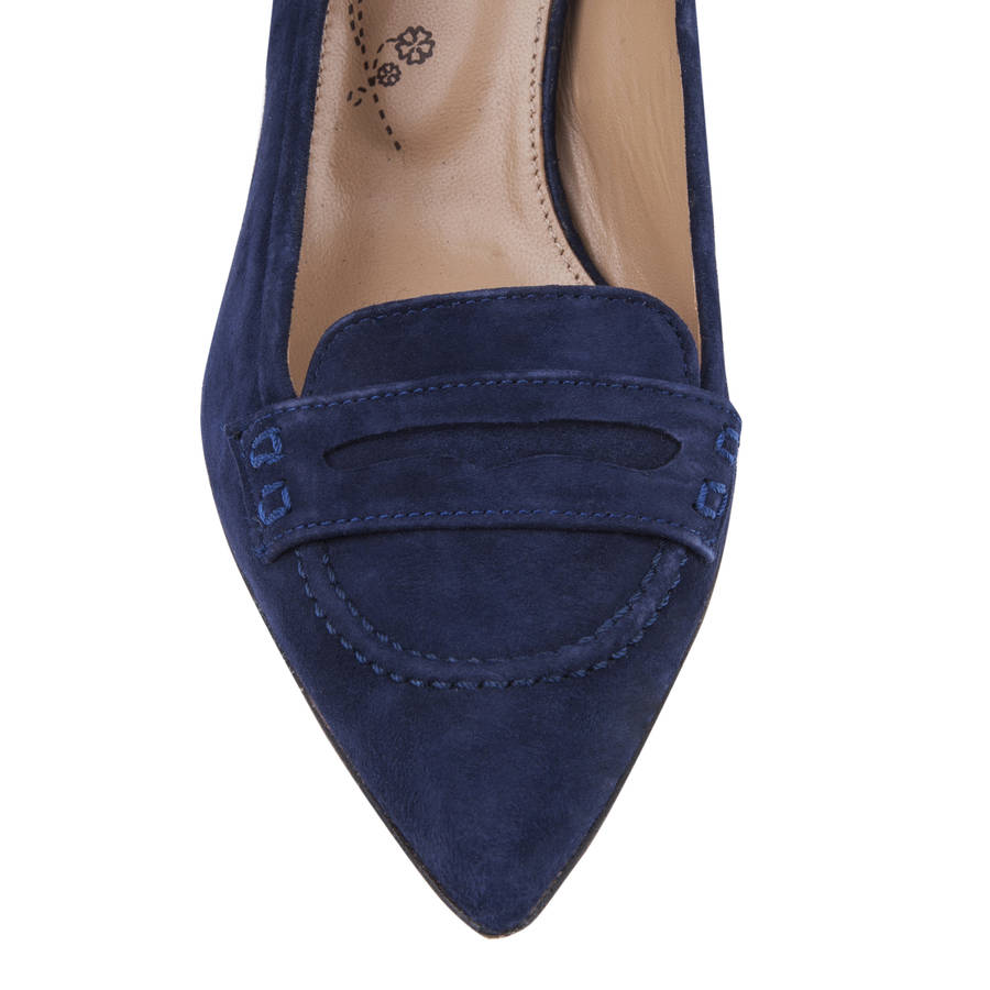 Navy Kitten Heel Shoes - Is Heel