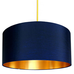 Gold Or Copper Lined Lampshade In Midnight Blue - bedroom