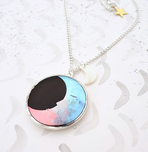 Two Moons Locket Necklace