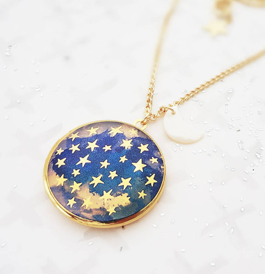 the lockets by pendant round bonbi product is notonthehighstreet necklace bonbiforest original com gold night forest sky dark locket