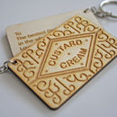 Personalised Custard Cream Biscuit Wooden Keyring
