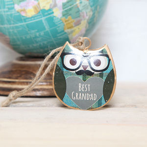 Best Grandad Mini Hanging Owl Gift - hanging decorations