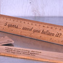 Personalised Wood 5th Anniversary Gift Ruler