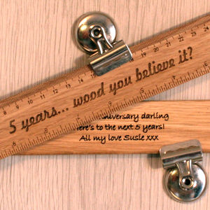 Personalised Wood 5th Anniversary Gift Ruler - writing
