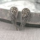 Marcasite Sterling Silver Angel Wing Earrings