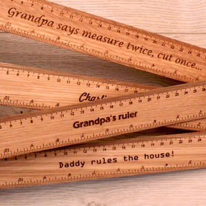 Personalised Engraved Oak Grandads Gift Ruler - gifts for grandparents