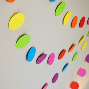 Rainbow Confetti Paper Garland - children's room