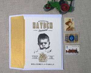 Easy Rider Letterpress Birth Announcement