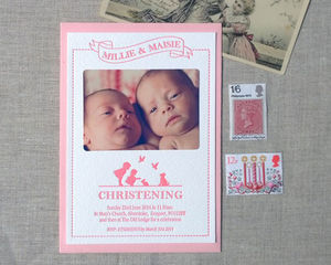 Sweet Creatures Letterpress Christening Invitation