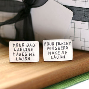 Personalised Message Silver Cufflinks - gifts for him