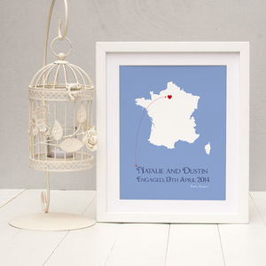 Engaged In Paris Personalised Print - art & pictures