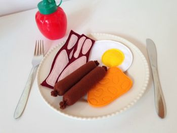 Pretend Play Felt Food English Breakfast Set