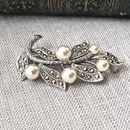 Vintage Style Marcasite And Pearl Leaves Brooch