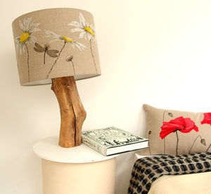 Daisy Lampshade On Linen - lighting