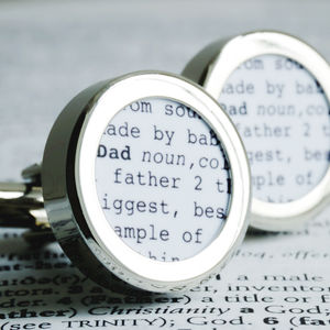 Personalised Dictionary Definition Cufflinks
