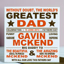 World's Greatest Dad Personalised Card