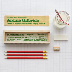 Personalised Wooden Pencil Box And Contents