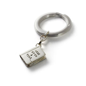 'Once Upon A Time' Silver Story Book Keyring - keyrings
