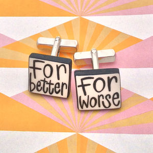 'For Better, For Worse' Wedding Cufflinks - groomed to perfection